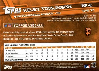 2017 Topps San Francisco Giants #SF-2 Kelby Tomlinson Back
