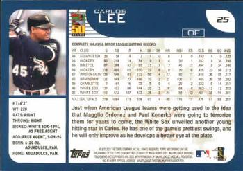 2001 Topps Opening Day #25 Carlos Lee Back