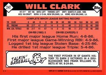 2001 Topps Traded & Rookies #T117 Will Clark Back
