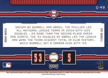 2003 Playoff Prestige - Connections #C-49 Pat Burrell / Bobby Abreu Back