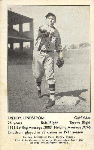 1932 New York Giants Schedule Postcards #NNO Freddie Lindstrom Front