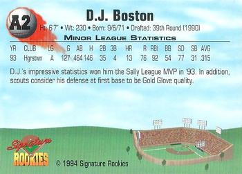 1994 Signature Rookies - Top Prospects Signatures #A2 D.J. Boston Back