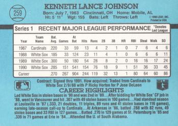 1991 Donruss #259 Lance Johnson Back