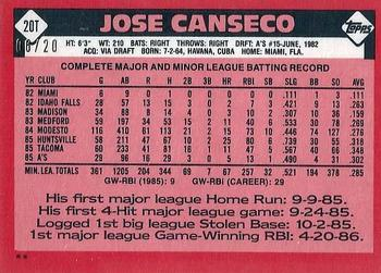 2017 Topps Archives - Topps Originals Autographs #20T Jose Canseco Back