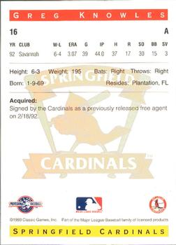 1993 Classic Best Springfield Cardinals #16 Greg Knowles Back