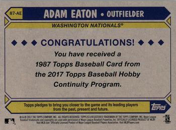 2017 Topps - Silver Pack Series Two #87-AE Adam Eaton Back