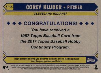 2017 Topps - Silver Pack Series Two #87-CK Corey Kluber Back