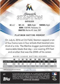 2017 Bowman Platinum #49 Giancarlo Stanton Back