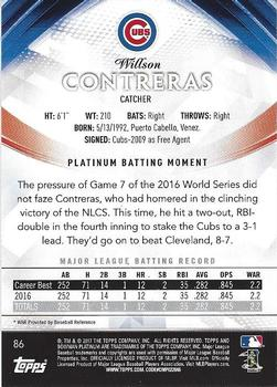 2017 Bowman Platinum #86 Willson Contreras Back