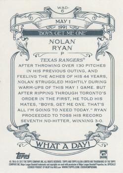 2017 Topps Allen & Ginter - What a Day! #WAD-6 Nolan Ryan Back