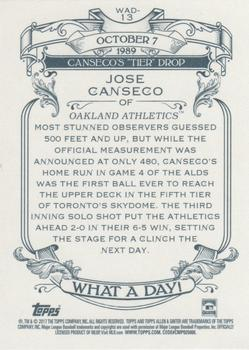2017 Topps Allen & Ginter - What a Day! #WAD-13 Jose Canseco Back