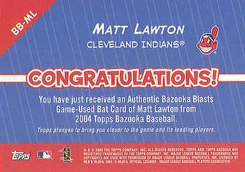 2004 Bazooka - Blasts Bat Relics #BB-ML Matt Lawton Back