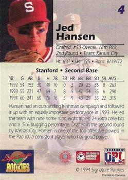 1994 Signature Rookies Draft Picks - Bonus Promo #4 Jed Hansen Back
