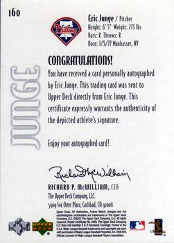 2002 SP Authentic #160 Eric Junge Back