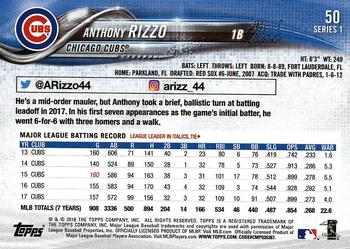 2018 Topps #50 Anthony Rizzo Back