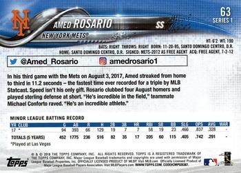 2018 Topps #63 Amed Rosario Back
