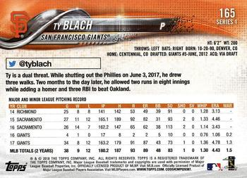 2018 Topps #165 Ty Blach Back