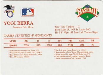 1990 MVP Sportscards Baseball All-Star Card Game #4 Yogi Berra Back