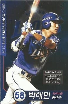 2017 Samsung Lions Blue Stars Bingo Player Cards #58 Hae-Min Park Front