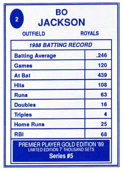1989 Premier Player Gold Edition Series 5 #2 Bo Jackson Back