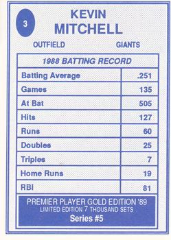1989 Broder Premier Player Series 5 Gold Edition #3 Kevin Mitchell Back