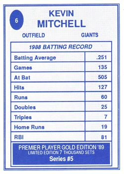 1989 Broder Premier Player Series 5 Gold Edition #6 Kevin Mitchell Back