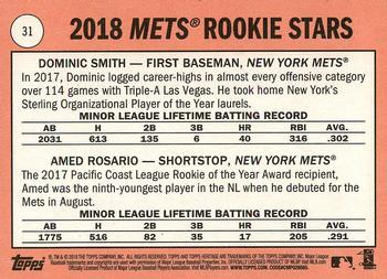 2018 Topps Heritage #31 Dominic Smith / Amed Rosario Back