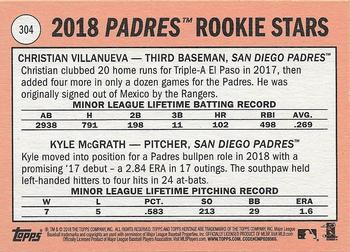 2018 Topps Heritage #304 Christian Villanueva / Kyle McGrath Back