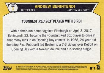 2017 Topps Heritage - Now and Then #NT-3 Andrew Benintendi Back