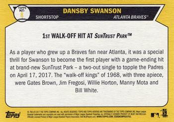 2017 Topps Heritage - Now and Then #NT-8 Dansby Swanson Back