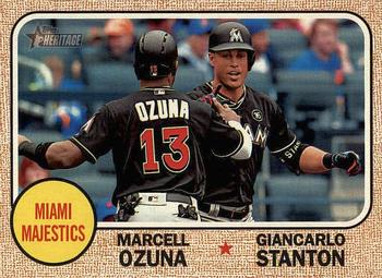 2017 Topps Heritage - Combo Cards #CC-4 Giancarlo Stanton / Marcell Ozuna Front