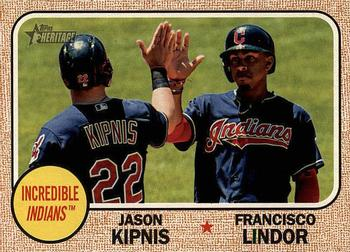 2017 Topps Heritage - Combo Cards #CC-7 Jason Kipnis / Francisco Lindor Front