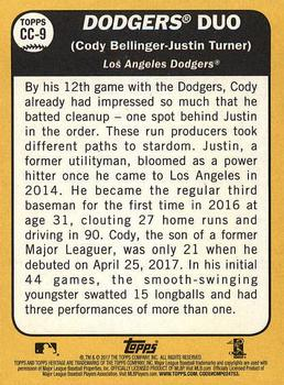 2017 Topps Heritage - Combo Cards #CC-9 Justin Turner / Cody Bellinger Back