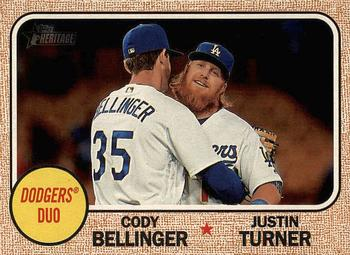 2017 Topps Heritage - Combo Cards #CC-9 Justin Turner / Cody Bellinger Front