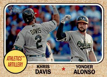 2017 Topps Heritage - Combo Cards #CC-10 Yonder Alonso / Khris Davis Front