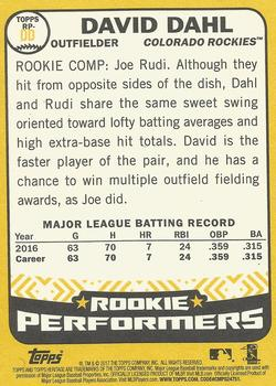 2017 Topps Heritage - Rookie Performers #RP-DD David Dahl Back