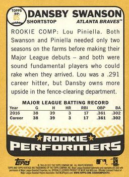 2017 Topps Heritage - Rookie Performers #RP-DS Dansby Swanson Back