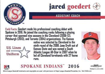2016 Grandstand Spokane Indians #31 Jared Goedert Back