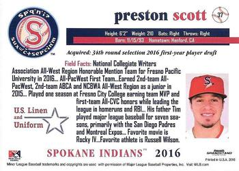 2016 Grandstand Spokane Indians #37 Preston Scott Back