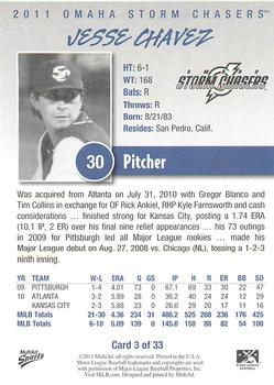 2011 Multi-Ad Omaha Storm Chasers #3 Jesse Chavez Back