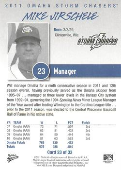 2011 Multi-Ad Omaha Storm Chasers #23 Mike Jirschele Back