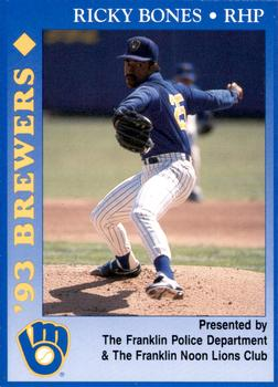 1993 Milwaukee Brewers Police - Franklin PD, Franklin Noon Lions Club and Cher-Make #2 Ricky Bones Front