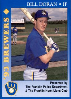 1993 Milwaukee Brewers Police - Franklin PD, Franklin Noon Lions Club and Cher-Make #5 Bill Doran Front
