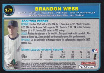 2003 Bowman Chrome #179 Brandon Webb Back
