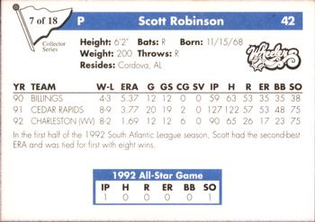 1993 Play II South Atlantic League All-Stars - Collector Series #7 Scott Robinson Back