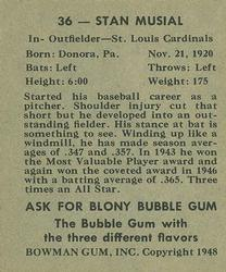 1948 Bowman #36 Stan Musial Back