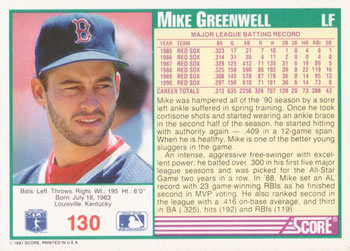 1991 Score #130 Mike Greenwell Back