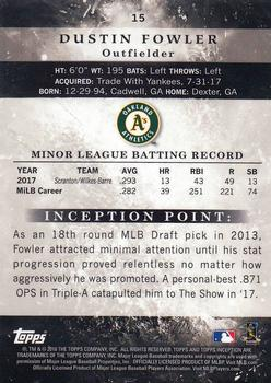 2018 Topps Inception #15 Dustin Fowler Back