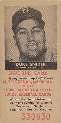 1954 New York Journal-American #NNO Duke Snider Front