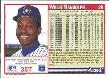 1991 Score Rookie & Traded #35T Willie Randolph Back